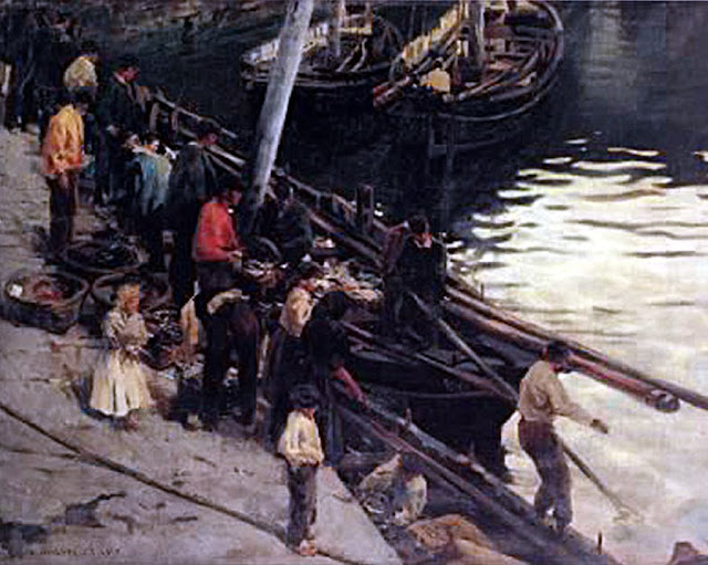 Pescadores trabajando en el puerto, Enrique Martínez Cubells, Pintor español, Pintores españoles, Martínez Cubells, Paisajes de Enrique Martínez Cubells, Pintores Valencianos