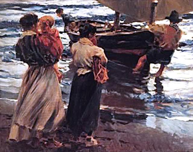 Pescadoras esperando, Esperando la pesca, Enrique Martínez Cubells, Pintor español, Pintores españoles, Martínez Cubells, Paisajes de Enrique Martínez Cubells, Pintores Valencianos