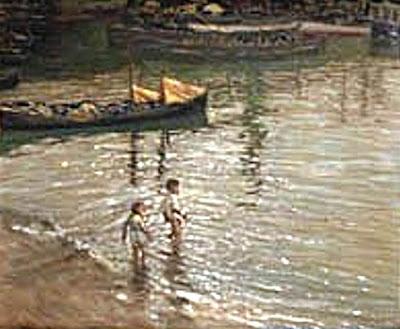 Niños bañandose en la playa, Enrique Martínez Cubells, Pintor español, Pintores españoles, Martínez Cubells, Paisajes de Enrique Martínez Cubells, Pintores Valencianos