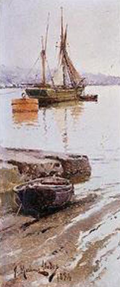 Vistas de un puerto, Juan Martínez Abades, Pintor español, Paisajes de Juan  Martínez Abades, Pintor Martínez Abades, Pintores españoles, Pintores Asturianos, Martínez Abades