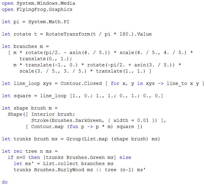 The Flying Frog Blog: F# vs Mathematica: Pythagoras tree