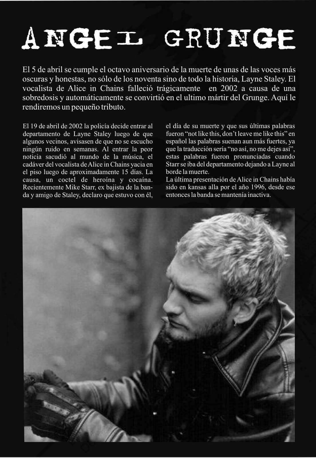Abiertamente Rock Layne Staley Angel Grunge