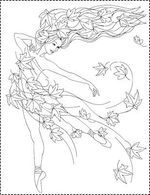 Nicole's Free Coloring Pages: Autumn Princess * Zana Toamnei