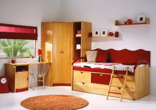 dormitorio pino macizo madera y rojo