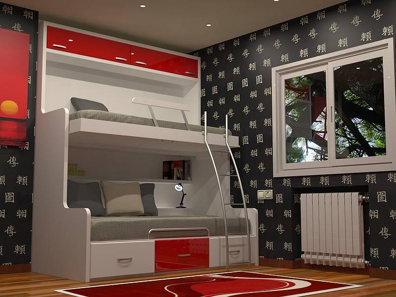 Camas abatibles plegables individuales horizontales de 90cm for Dormitorios juveniles baratos sin armario