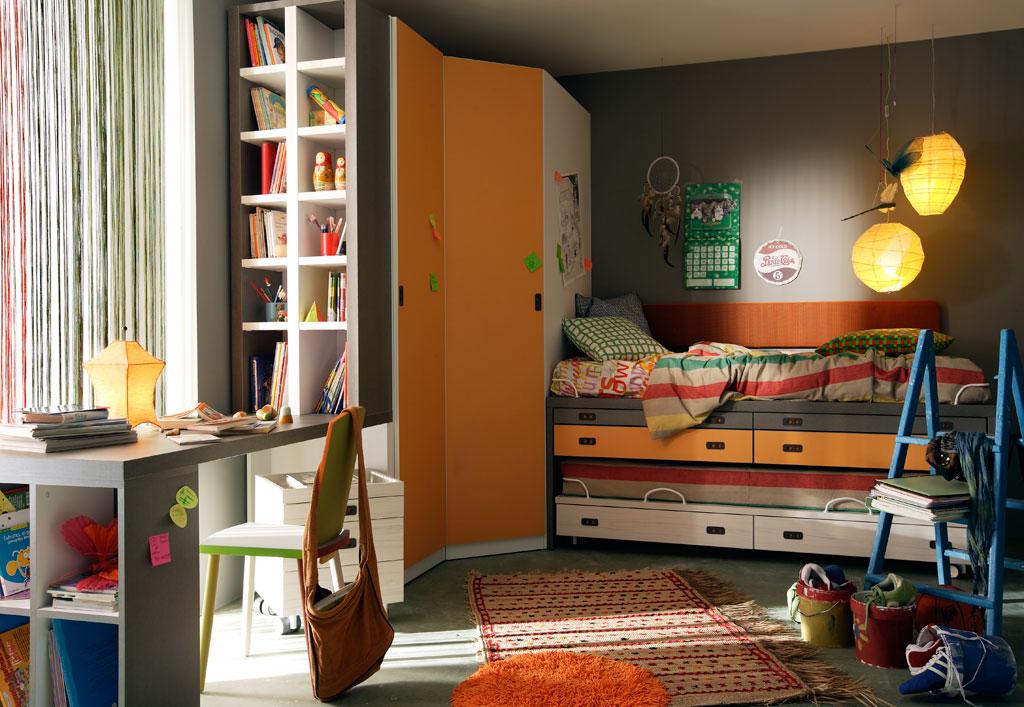 Dormitorio juvenil avatar pro con cama alta compacto con cjaonesarmario de rinconestanteria y mesa de estudio