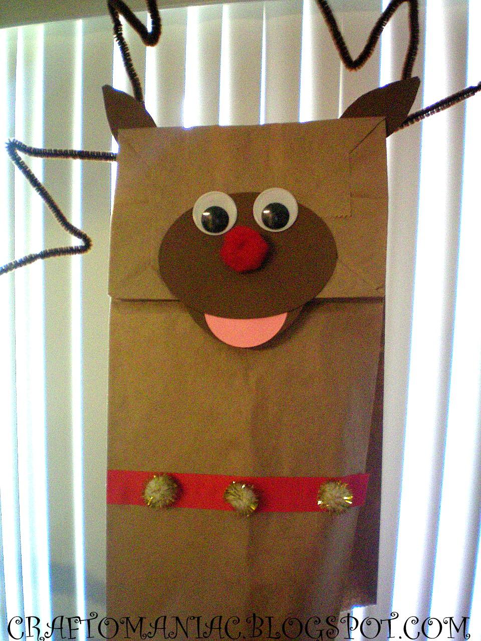 Kids Craft Rudolph Paper Bag Puppet S