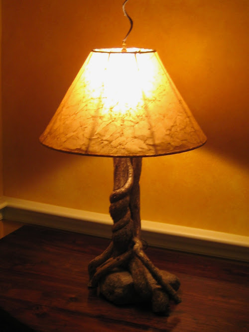 Handcrafted bittersweet lamp on a granite base