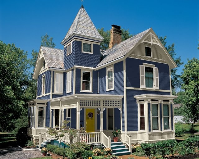 Daily knick knacks painted lady - White house with blue trim ...