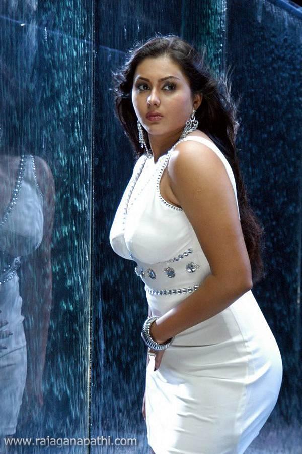 Hot Actress Namitha In White Transparent Dress Wet