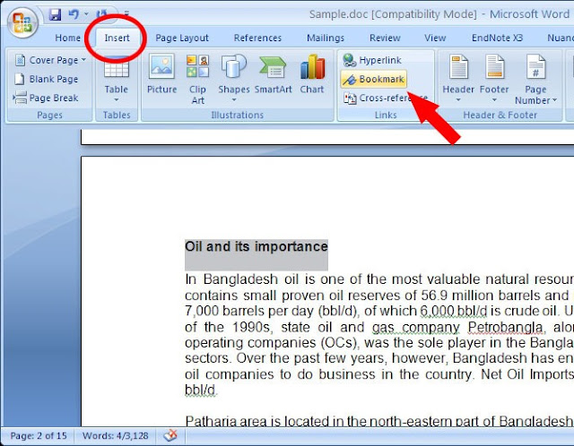 How to make a bookmark in word 2007