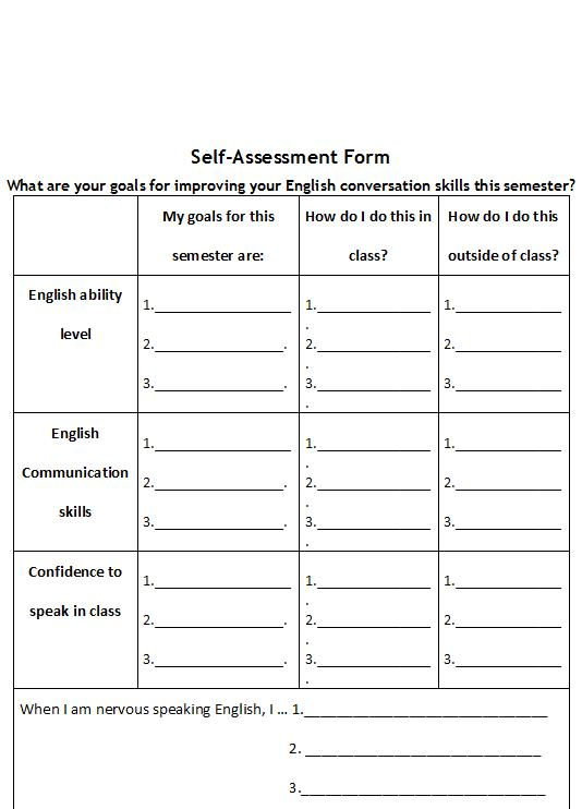 English Conversation Class Self-Assessment Form
