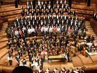Curtain call for SFGMC concert seen from the nose-bleed section of Davies Symphony Hall
