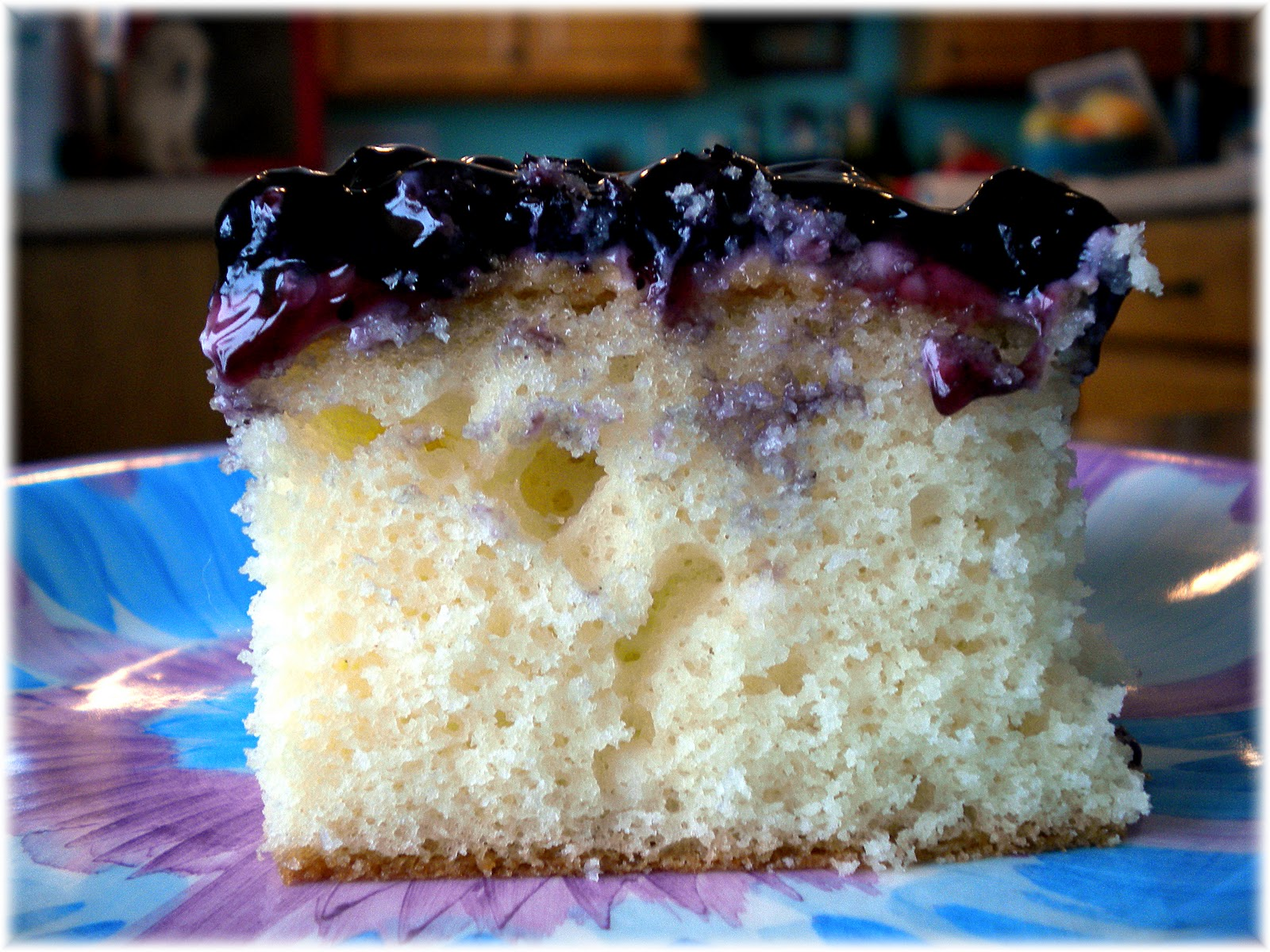 White Layer Cake With Blueberry Filling