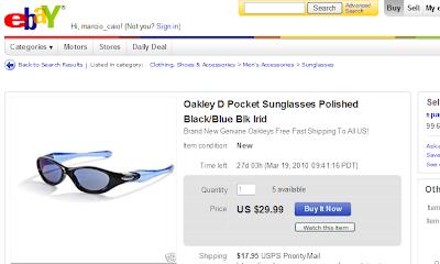 "cb9424324 Óculos de sol Oakley modelo ""D Pocket"" no eBay por US$ 47,94 ou o  correspondente a R$ 88,70:"