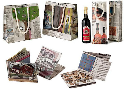 newspaper wine bag, market bag & wallet
