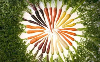 carrots with pigments that reflect almost all colors
