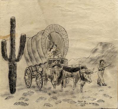 Family+in+Covered+Wagon+Crossing+Desert