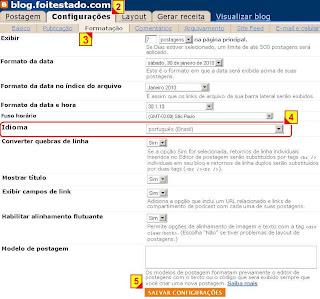 configurar idioma do seu blog no blogger
