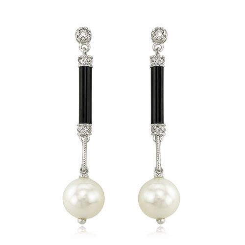 Onyx and Pearl Earrings