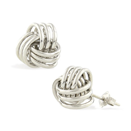 White Gold Knot Earrings