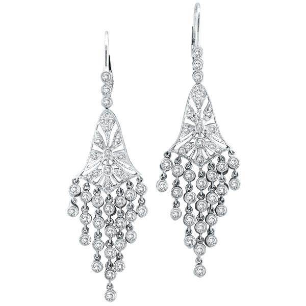 Long Diamond Chandelier Earrings