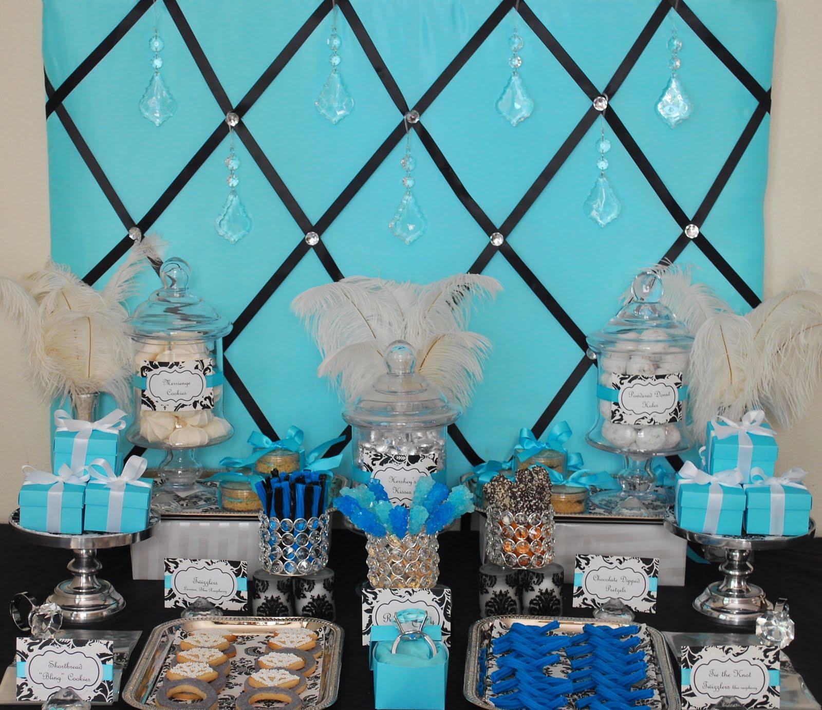 Tiffany Blue And Black Wedding Ideas: Fête Fanatic: Tiffany Blue Black & Bling Sweets Display