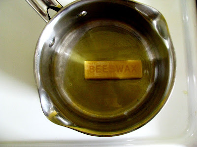 beeswax melting in a pan