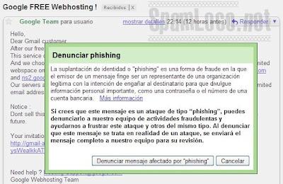denunciar phishing gmail