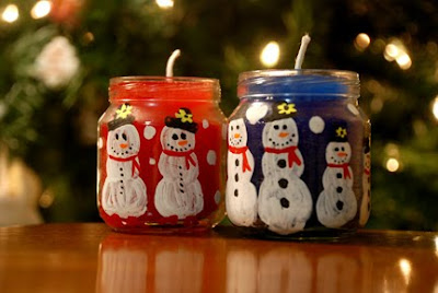 snowman baby food jar candles