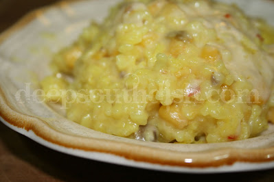 Jill Conner Browne, Sweet Potato Queen and our own Mississippi celebrity, calls this dish Death Corn Five because it's a great funeral food dish. A mixture of packaged Zatarain's yellow rice with Mexican corn and the addition of jalapeno and pepper jack cheese - it's spicy good!