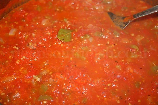 Creole tomato sauce made from garden fresh tomatoes, onion, green & red bell pepper, celery & seasonings.