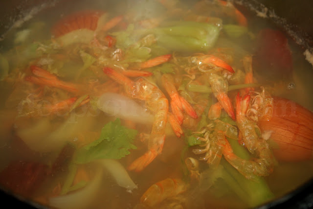 A rich seafood stock is made easy with shrimp shells and a few aromatics.