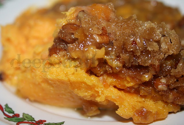 A wonderful side dish combining butternut squash with sweet potato and a praline topping.