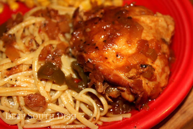 Chicken thighs, slow cooked in a seasoned Creole sauce with The Trinity, and served with fettuccine noodles.