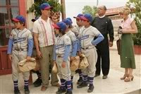 A Scene from The Perfect Game featuring (from left to right) Angel Macias (Jake T. Austin), Cesar (Clifton Collins Jr.), Mario (Moises Arias), Gerando (Mario Quinonez), Enrique (Jansen Panettiere), Reverend Clarence (Cheech Marin) and Frankie (Emilie de Ravin).