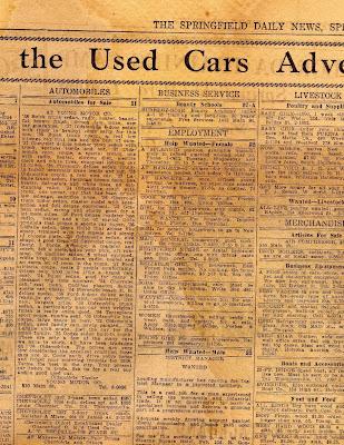 Exploring Western Massachusetts: Springfield Daily News Classifieds