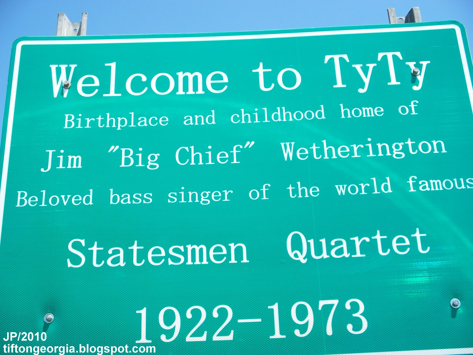 Tyty Georgia Jim Chief Wetherington Statesmen Quartet Birthplace History Sign Tift County Ga