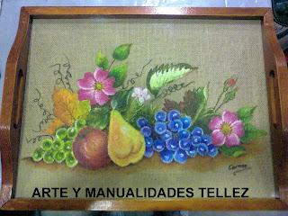 Arte Y Manualidades Tellez Bandeja De Madera Y Cristal