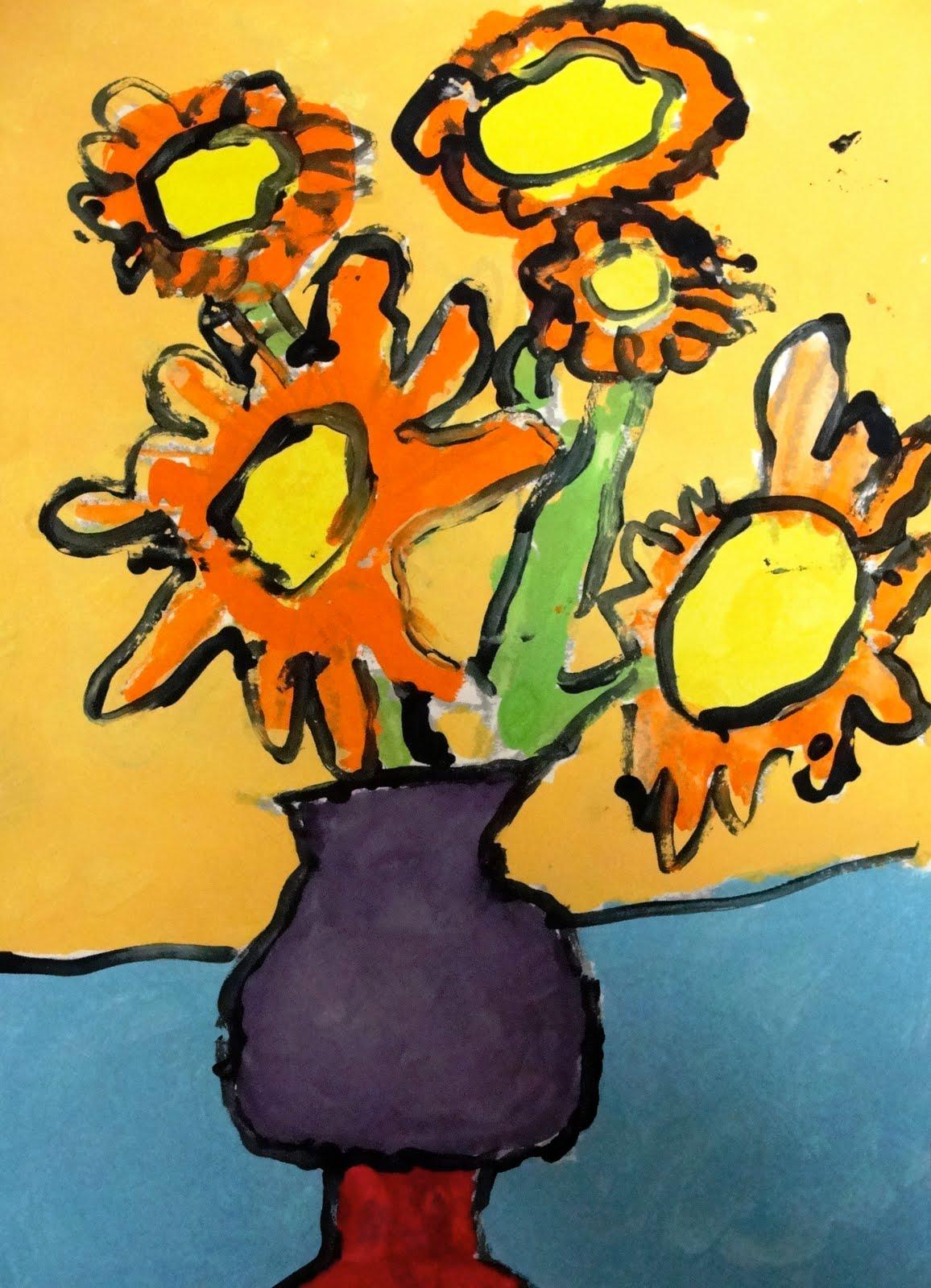 Van Gogh Sunflowers Art Lesson
