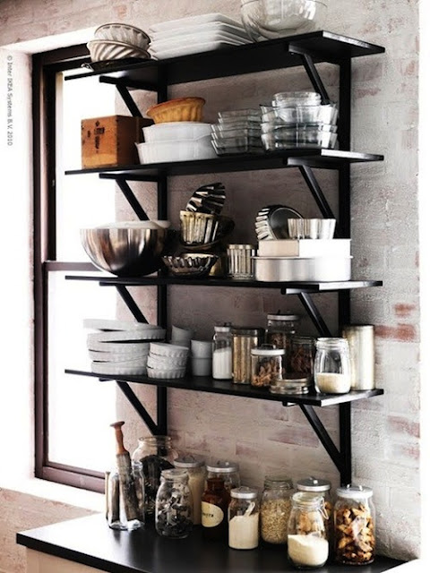 the estate of things chooses black open shelves