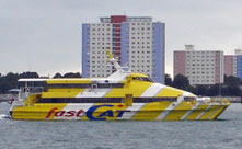 FastCat approaching Portsmouth Harbour from Ryde