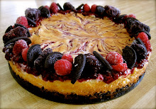 White Chocolate Berry Swirl Cheesecake