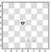 Posición incial en el tablero de ajedrez del mate con dos alfiles