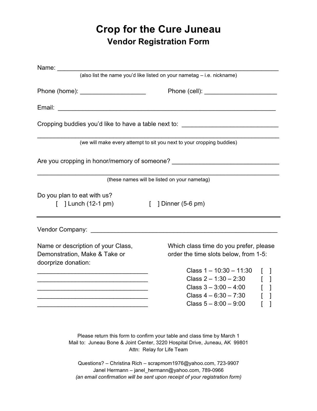Vendor Forms Template. vendor form template 11 registration form ...