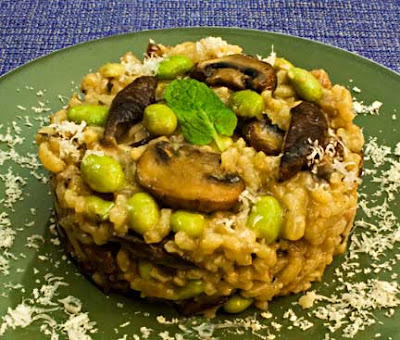 Edamame and Mushroom Risotto with Pancetta