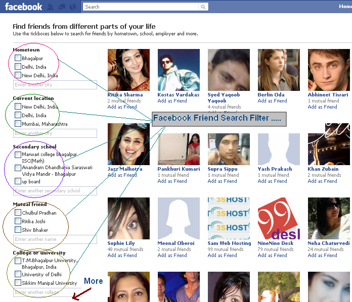 Facebook New Friend Suggestion Filter –Friend's From