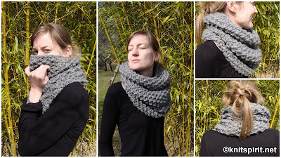 Mon gros snood gris au point de riz – Knit Spirit 65a7349bacd