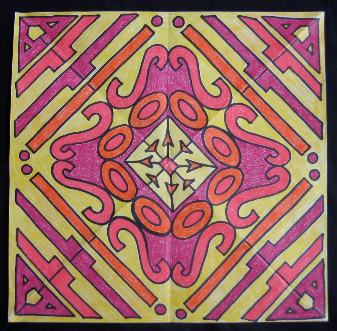 kaleidoscope designs grade projects teachkidsart symmetry project lettering radial warm colors pattern different cool names symmetrical lessons math paper geometry