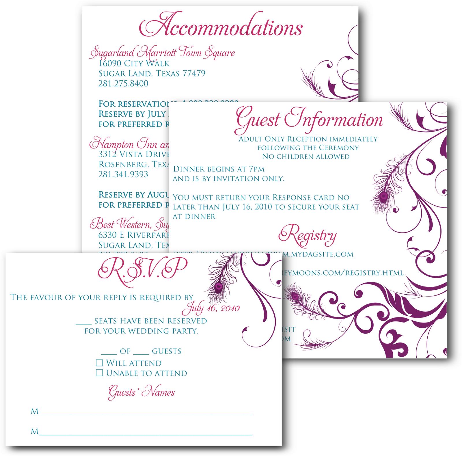 Signatures By Sarah: Wedding Invitation Inserts For Pamela